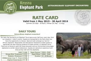 Knysna Elephant Park Rates