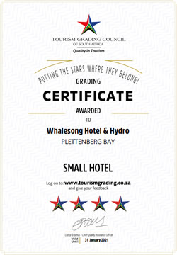 TGCSA 4 Star Certificate for Whalesong Hotel and Hydro in Plettenberg Bay