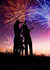 family-watching-fireworks