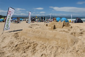 Careers24 sandcastle on central beach in Plett