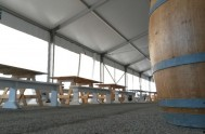 Low angle shot of the benches in the main tent