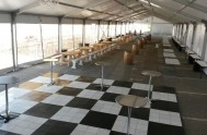 Inside the marquee with the dance floor in the foreground