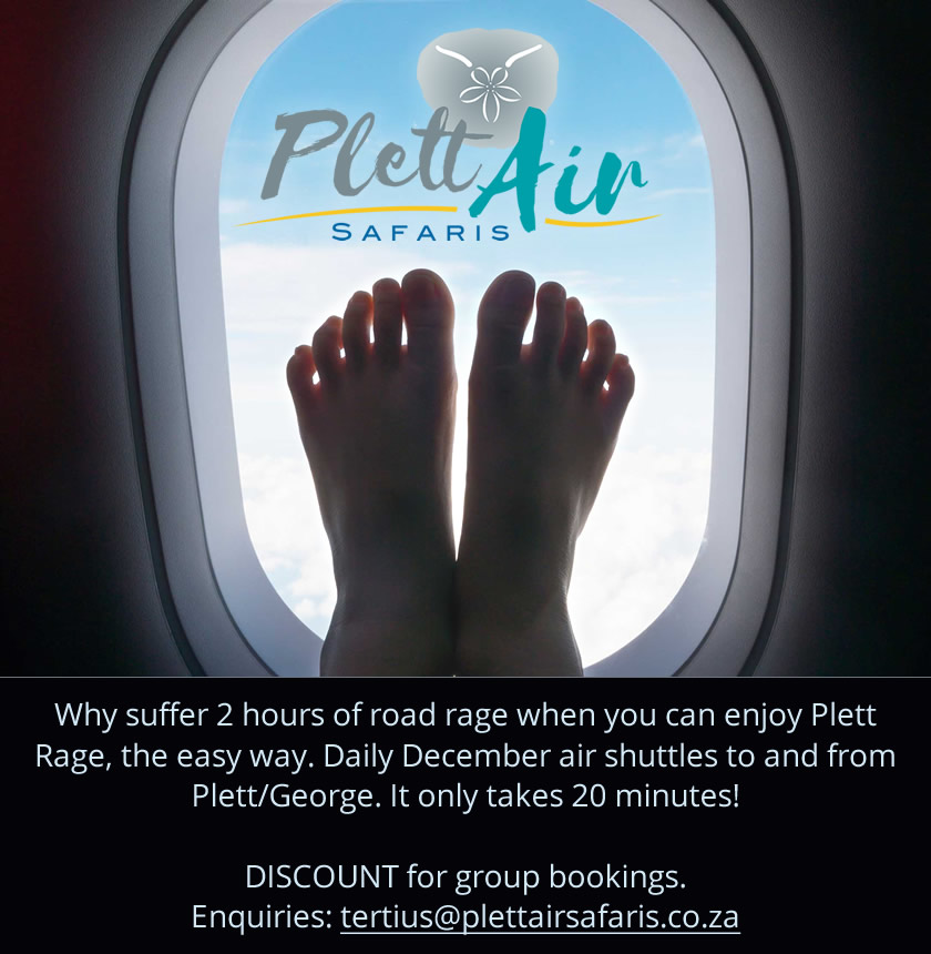 Daily December air shuttles to and from Plett/George