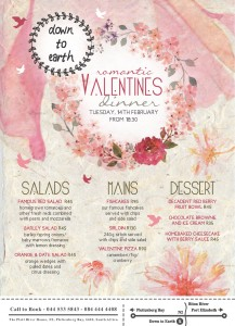 Down to Earth Menu Valentines Day - 2017