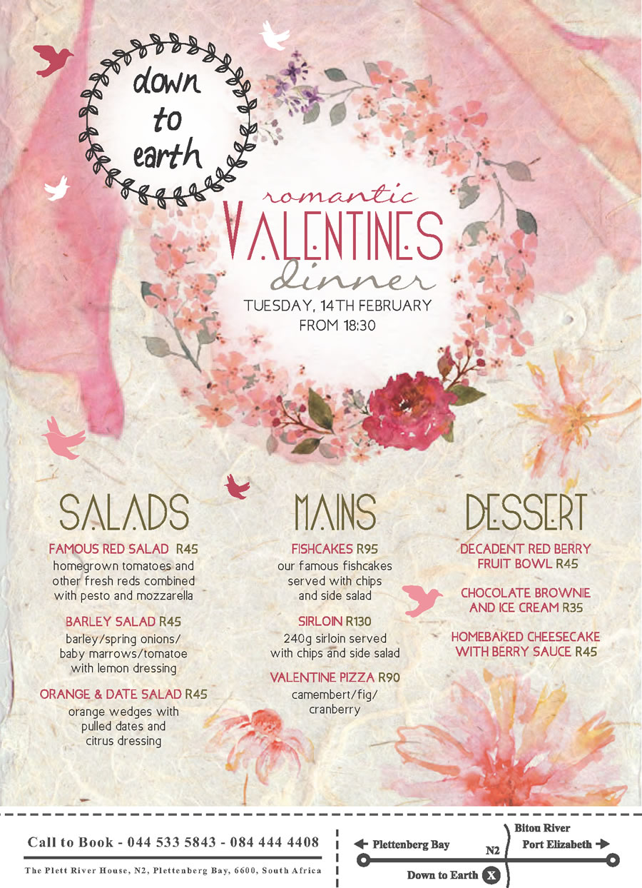 down to earth menu valentines day 2017 - Valentines Day Food Specials