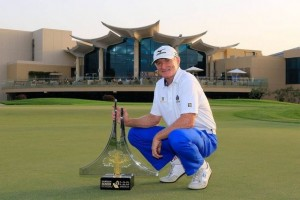 Chris Williams with Sharjah Senior Masters Trophy
