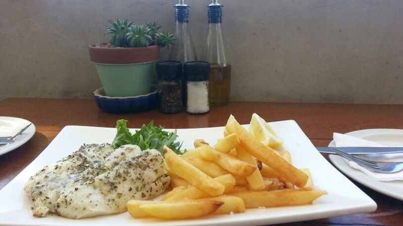 Fresh Hake with Chips or Veg