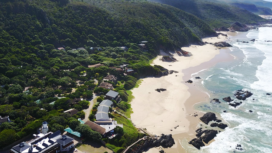 Aerial view of Arch Rock Resort in Plettenberg Bay