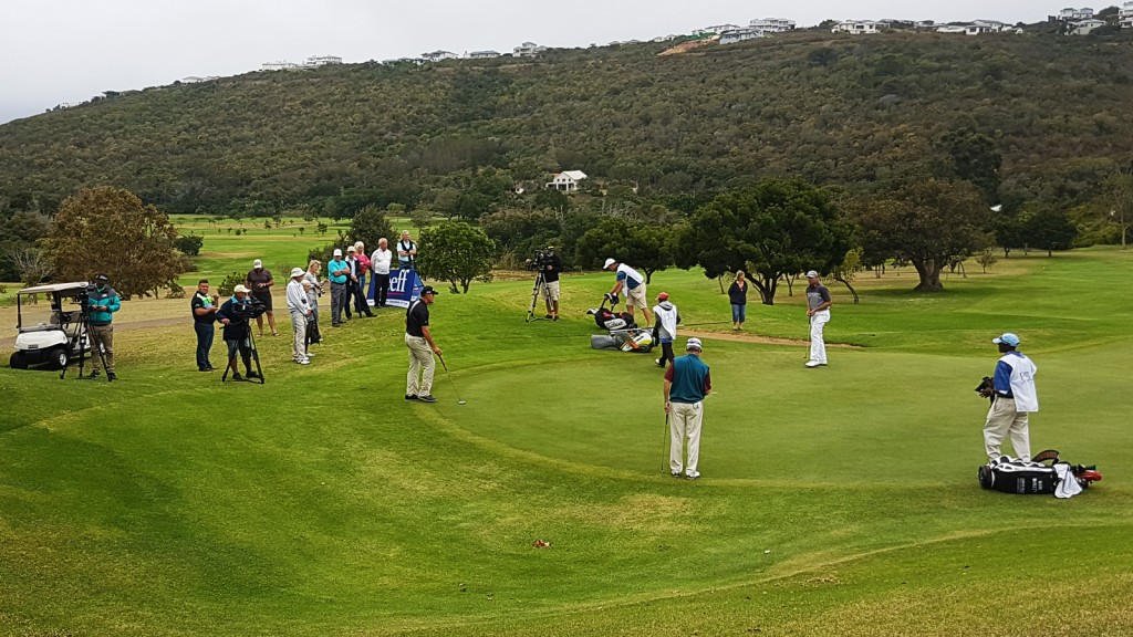 Roger Wessels, Mark McNulty and James Kingston on the 18th hole on final day of the SA Senior Open in Plett