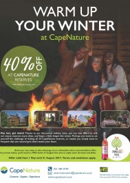 Get 40% off accommodation at Cape Nature