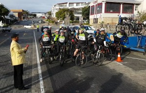 Mayor Peter Lobese prepares to start the inaugural ride of the Cross Cape Cycle Route in Main Street Plettenberg Bay