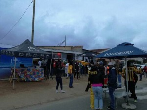 Patrons outside Skhulu's Lounge on Soweto Derby day