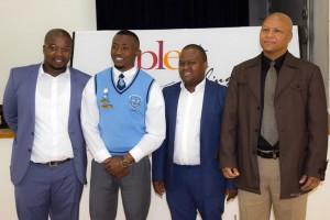 Khula Africa's Phakamile Sebezo, Plett Sec Student- Siyabonga Yumata, NYDA Chair- Sifiso Mtsweni and Bitou Mayor, Cllr Peter Lobese. Photo - Vinthi Neufeld
