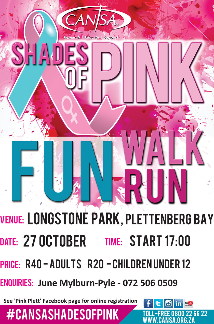 CANSA Shades of Pink Walk Poster Plettenberg Bay
