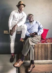 Tsidiso and Amos 'Skhulu' Noyi at Skhulu'z Lounge.