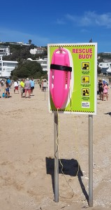 A pink torpedo buoy at Lookout Beach in Plettenberg Bay