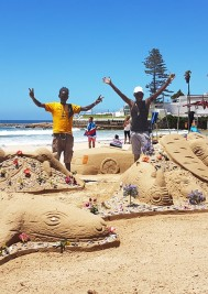 Madiba sand sculptures unveiling today at Central Beach
