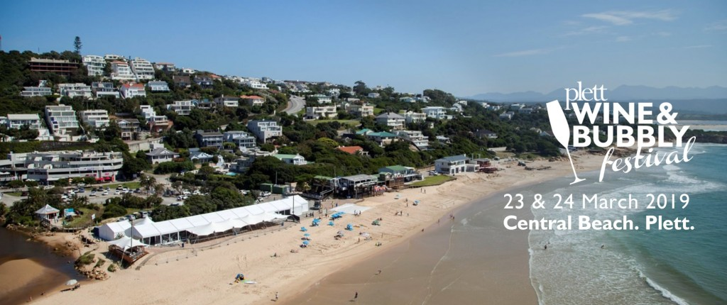 Central beach aerial photo with Plett Wine and Bubbly Festival tent