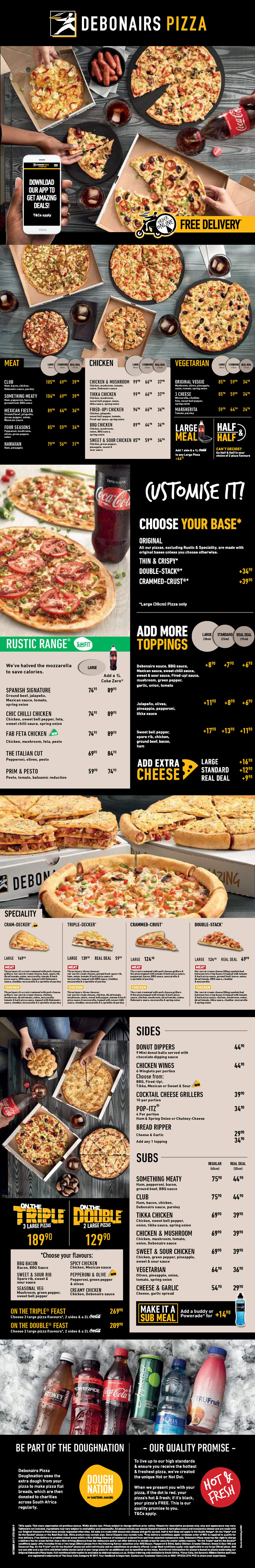 Debonairs Pizza in Plett - Menu