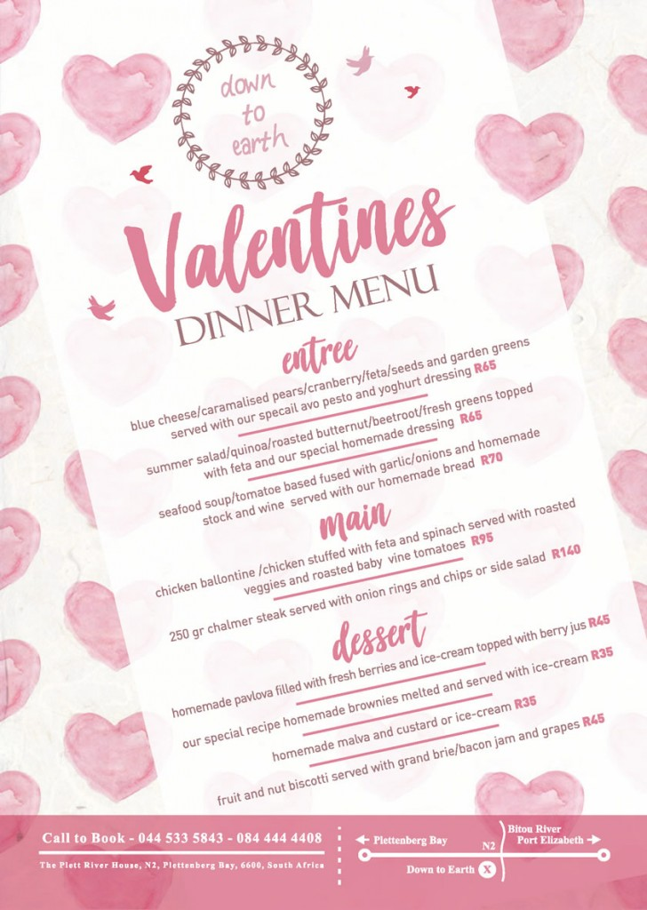 Down to Earth Valentines Day Menu 2018
