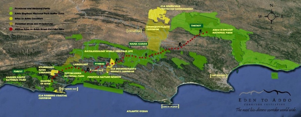 Eden to Addo Great Corridor Hike route map