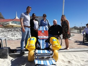 Jakkie Pieters from The National Council for Persons with Physical Disabilities in South Africa (NCPPDSA) accepts their Amphibious Wheelchair on behalf of the Kouga Municipality from Rob Slater (Blue Flag Programme Coordinator), Duduzile Nxele (Ford Motor Company) and Lynda du Plessis (Ford Wildlife Foundation).