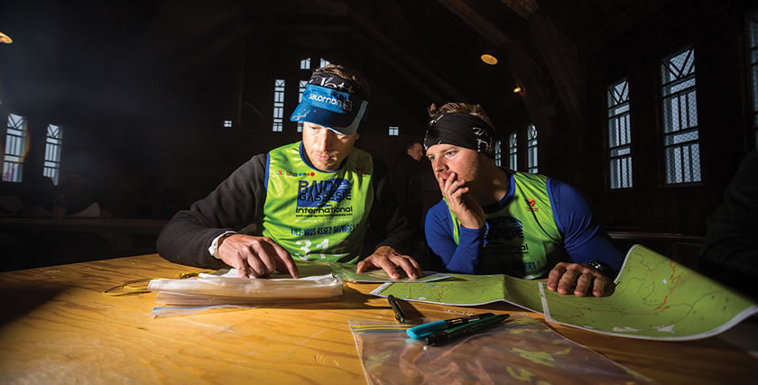 Petrus and Andrew planning the next stage in a race