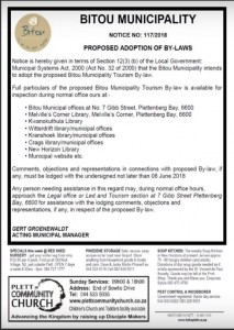 Tourism bylaw notice 10 May 2018