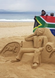 Sand sculpture of Madiba unveiled on Central Beach