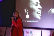 Cindy Wilson-Trollip introduces Don Edkins ahead of the screening of Mama Africa in Plett
