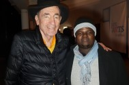 Justice Albie Sachs with writer Wandisile Sebezo at the screening of Mama Africa during the Plett ARTS Festival