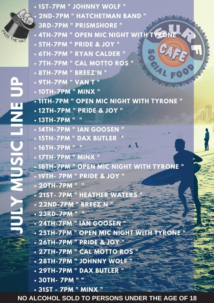 Surf Cafe July 2018 gig poster