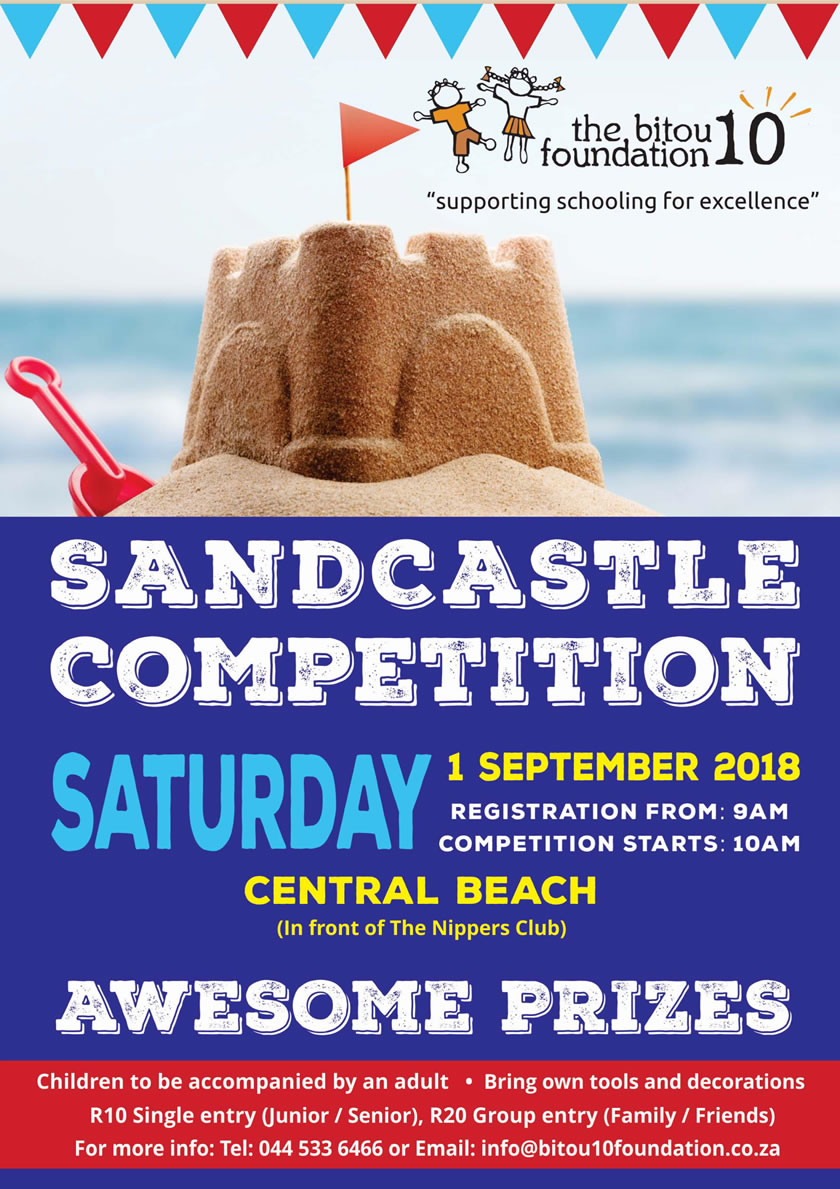 Sandcastle building event in aid of Bitou 10