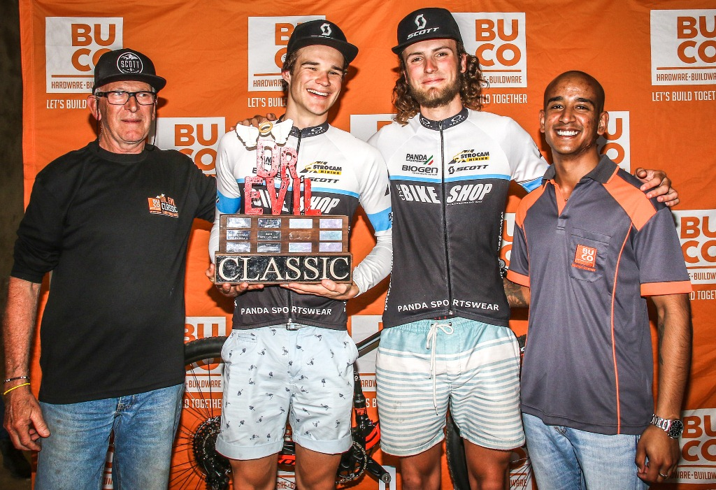 Race founder; Dr Evil, aka Leon Evens, with the 2018 BUCO Dr Evil Classic champions, Aidan Connelly and Rogan Smart, along with BUCO's Krishlin Foster. Photo by Oakpics.com.