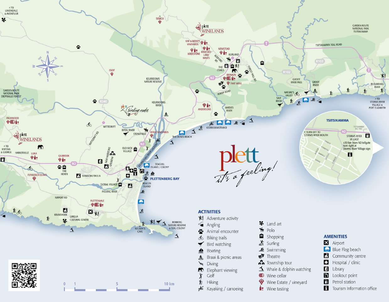 Plett Map showing the Plett Wine Route, activities etc.