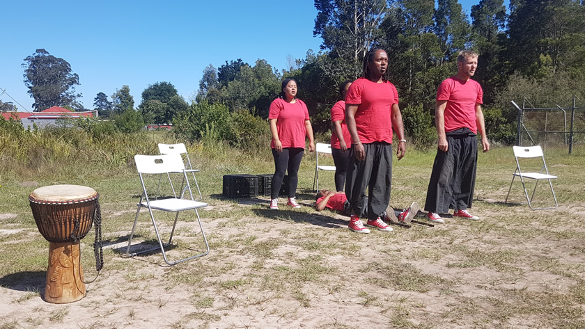 Lunchbox Theatre performing Thand' Impilo (Love Life) at Harkerville Primary School outside Plettenberg Bay.