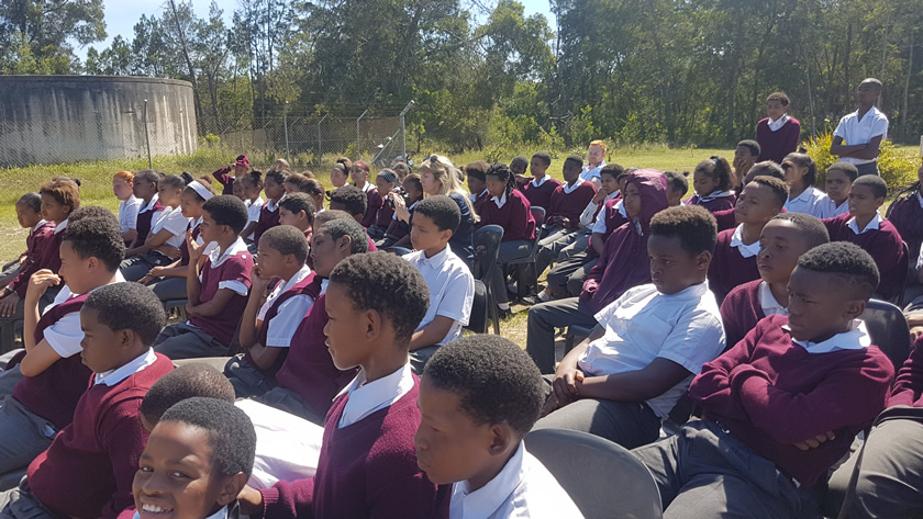 Learners watch intently as Lunchbox Theatre performs Thand' Impilo (Love Life) at Harkerville Primary School outside Plettenberg Bay.