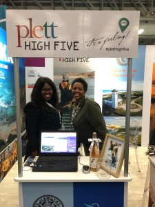Thandi Mabukane and Bukelwa Audrey Bonita at The Plett Tourism stand at WTM