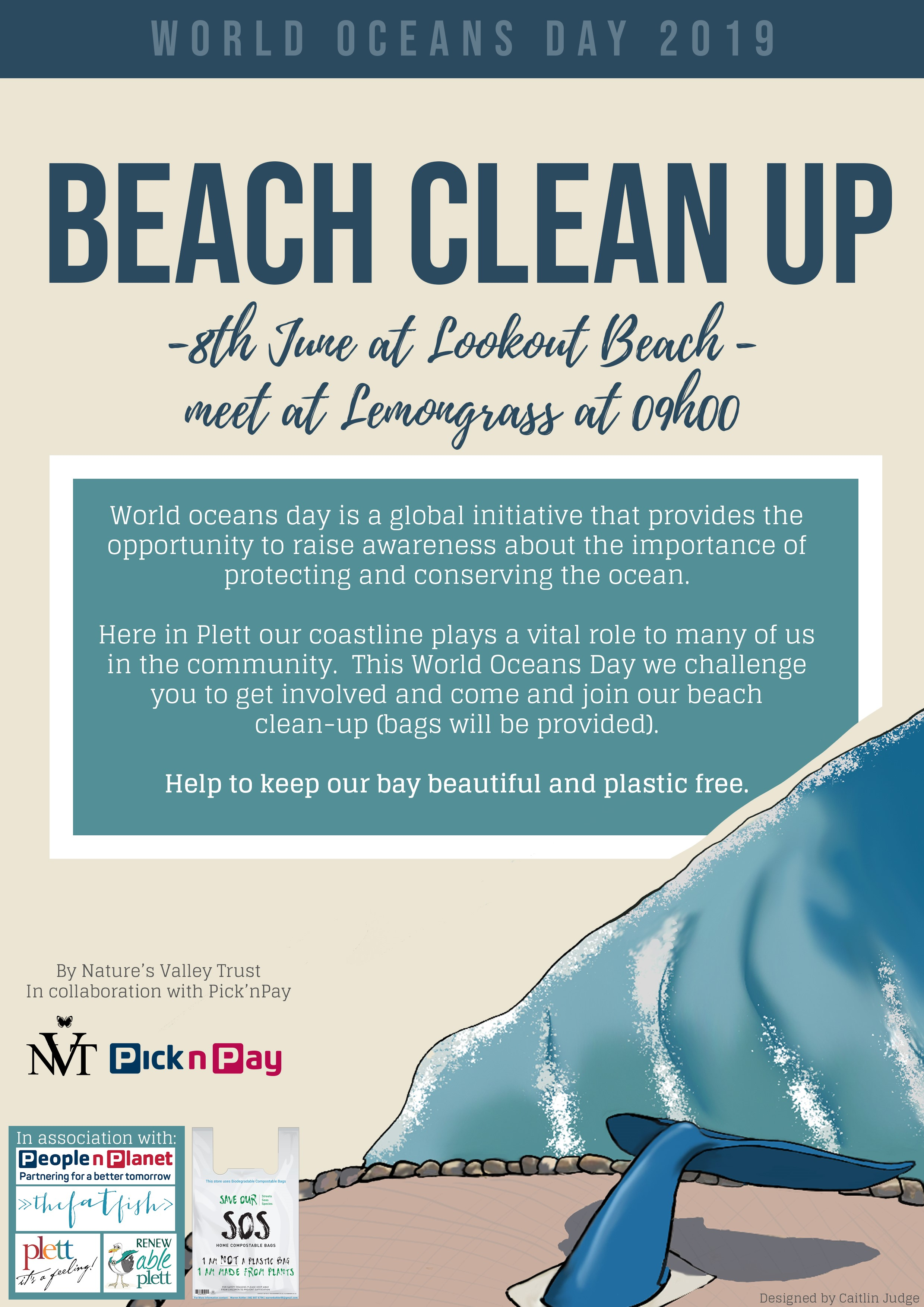 Beach clean up with NVT Plett Oceans Day
