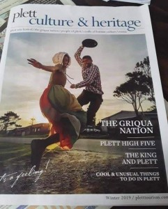 The cover of the 2019 Plett Culture & Heritage Magazine features Riel Dansers from Kranshoek