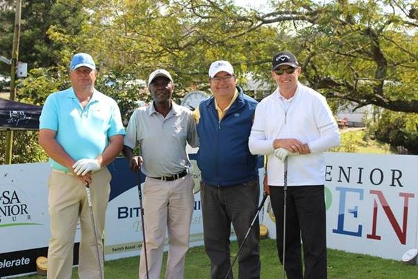 From left: JD Pretorius, Veli Hlophe (Pro), Nico Westraat and Cliff Barnard (Pro) at the 2018 SA Senior Open.