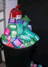 Over 100 packs of sanitary towels were collected in the campaign
