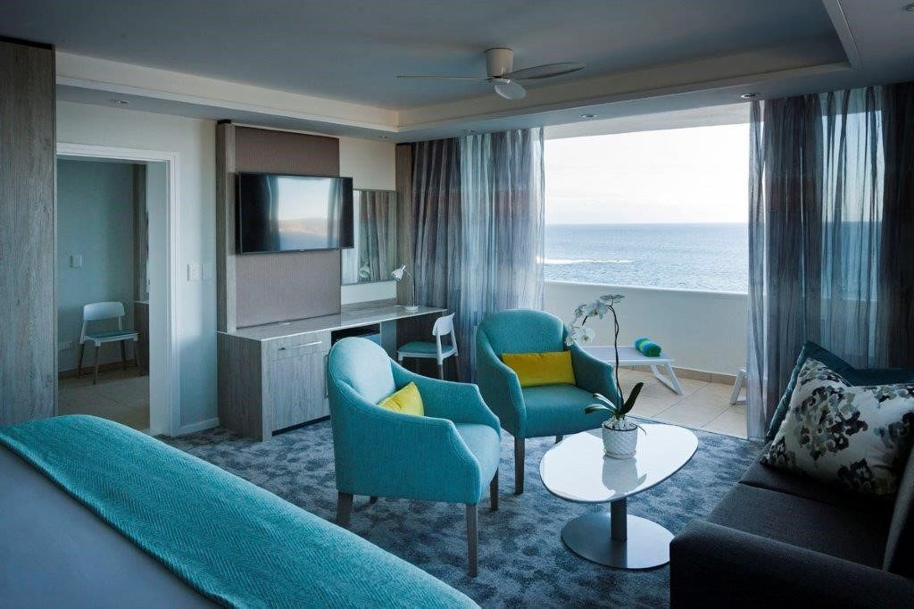 Beachy blues take centre stage in the newly renovated suites at the Beacon Island Lifestyle Resort