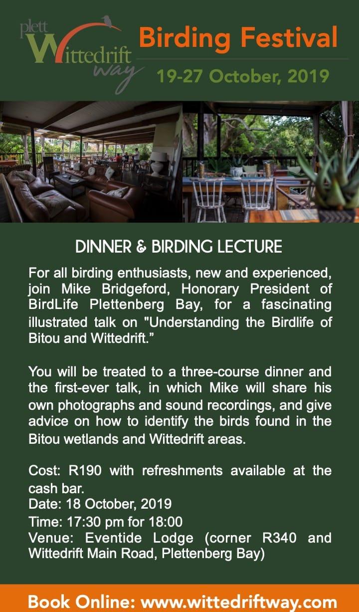 dinner and birding talk in Plett
