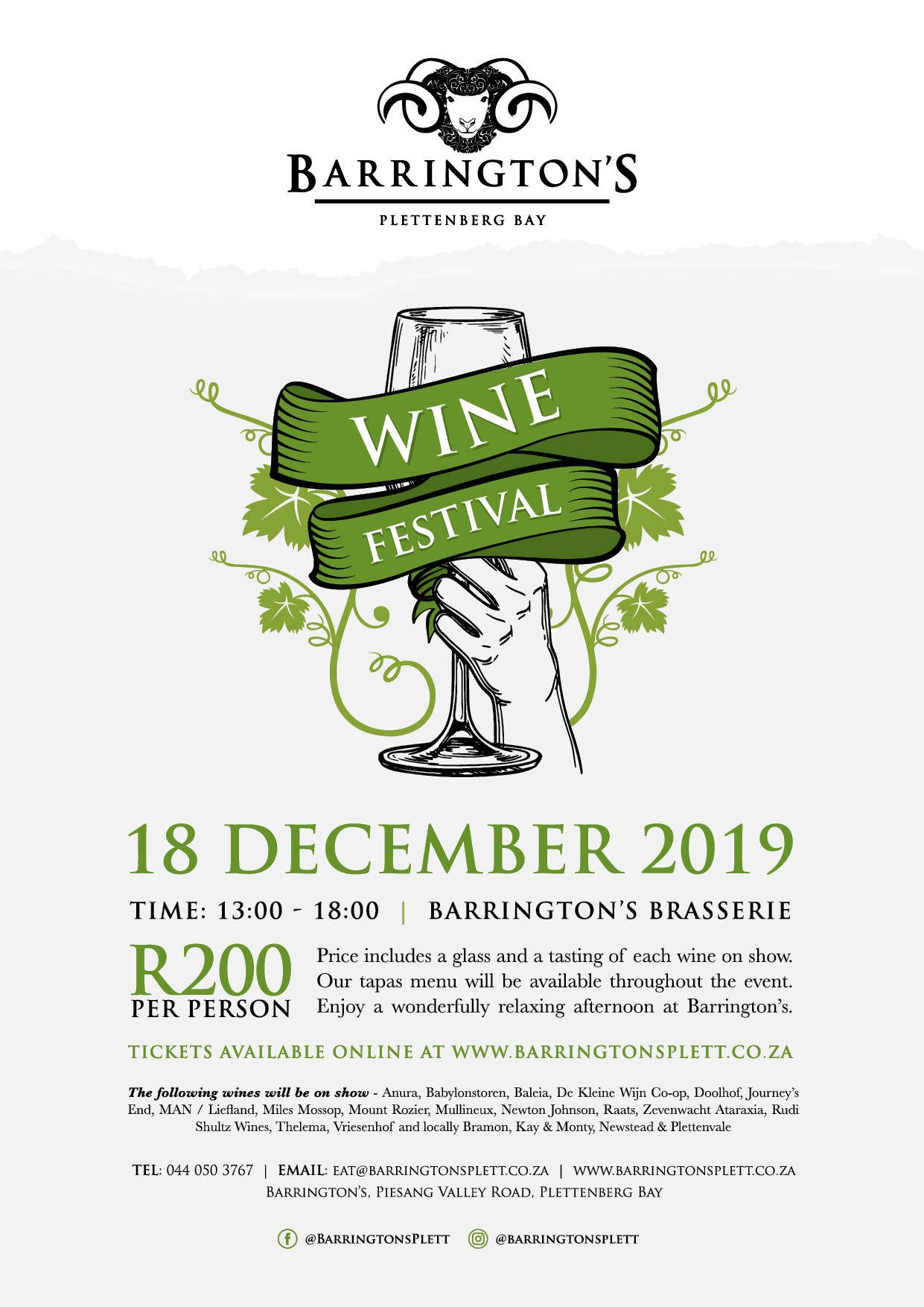 Barrinton's Wine Festival Plett Dec 2019
