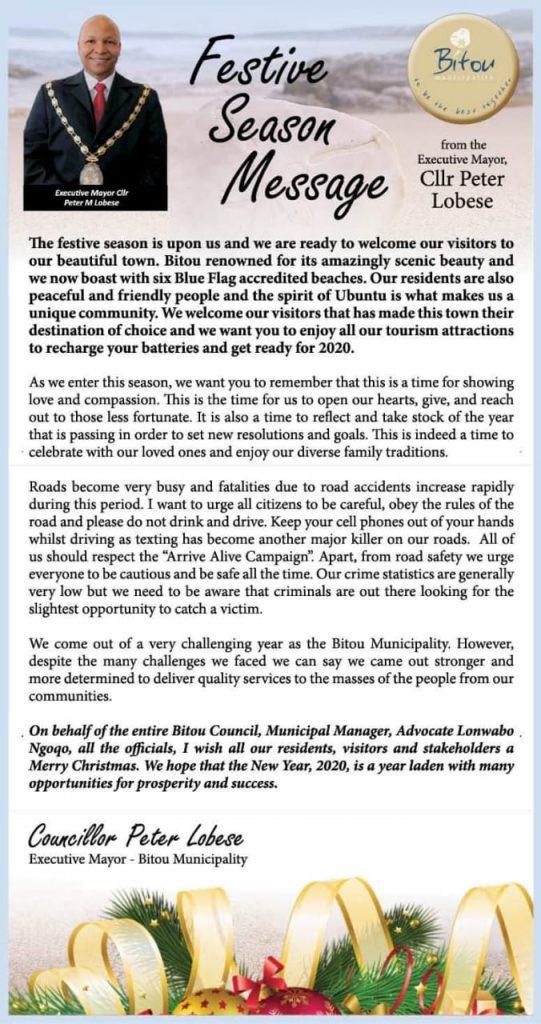 Mayor's message for the festive season Bitou Municipality 2019