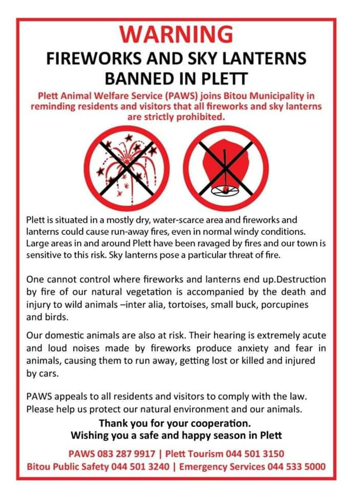 Fireworks banned in Plett