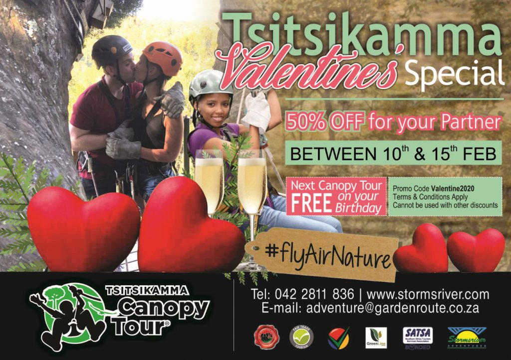 Tsitsikamma Canopy Tours Valentine's Special 50% off for your partner
