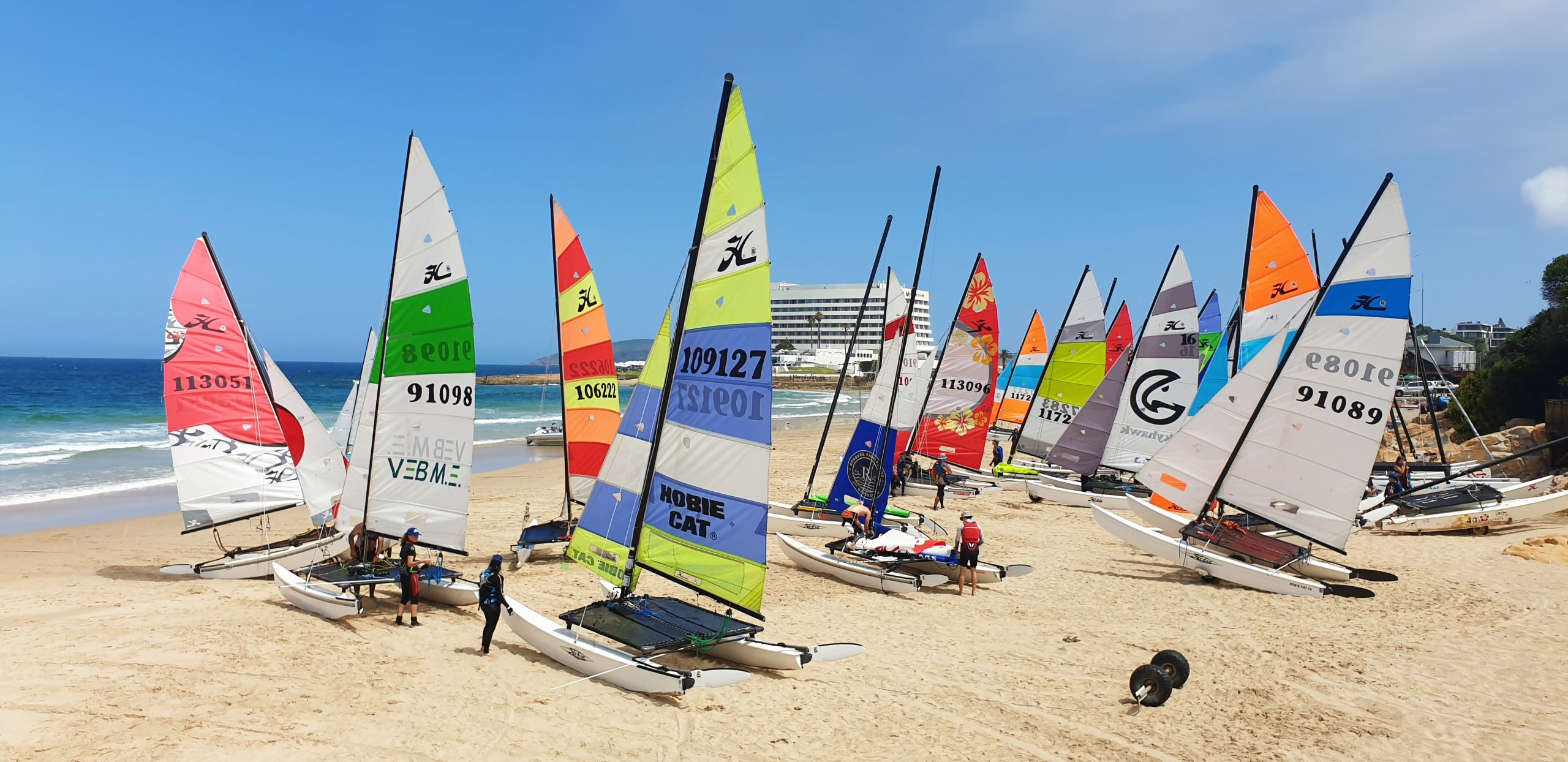 Hobie 16s on Plett's Hobie Beach during the SA Hobie 16 Nationals Regatta 2020