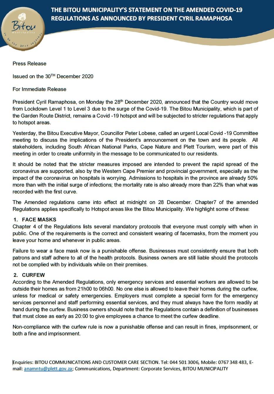 Bitou Municipality's statement on amended Covid-19 regulations